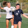 (Brad Davis/For The Register-Herald) Oak Hill's Kerrisyn Feazell, left, and Shady Spring's Olivia Barnett battle for possession Monday evening at the YMCA Paul Cline Memorial Sports Complex.
