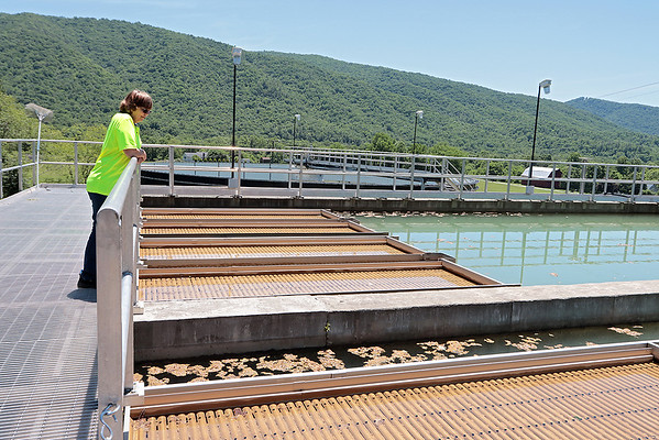 Water plant operator Wanda Sanford looks at water being processed at the water plant in Caldwell Thursday. The City of Lewisburg issued a boil water advisory Wednesday because of high turbidity levels due to excess rain and storms in the region. Jenny Harnish for the Register-Herald