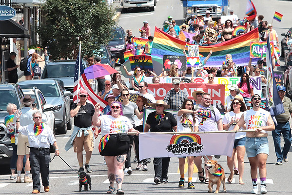 The Inaugural Greenbrier Valley Pride parade makes its way through downtown Lewisburg Saturday. Jenny Harnish for the Register-Herald