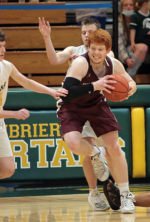 Woodrow Wilson's Ben Gilliam tries to get past Greenbrier East players during Saturday's Class AAAA Region 3, Section 2 game against Woodrow Wilson at Greenbrier East in Fairlea. Jenny Harnish for the Register-Herald