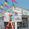 Dipping Dots owner Rick Simms sets up his stand at the State Fair of West Virginia Monday. Jenny Harnish/The Register-Herald