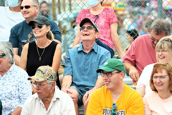 Fairgoers laugh at the Timberworks Lumberjack Show at the State Fair of West Virginia Thursday. Jenny Harnish/The Register-Herald