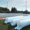 Synthetic turf waits to be installed on a baseball field Wednesday in Hollowell Park, which has been selected to host the State Little League Tournament mid-July.  Jenny Harnish for the Register-Herald