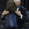 Vice president Mike Pence hugs Victoria Yeager, wife of the late Chuck Yeager during a memorial service honoring her husband at the Charleston Coliseum Convention Center Friday afternoon. On October 14, 1947, Yeager became the first man to fly faster than the speed of sound thus enabling mankind to go into space. Yeager died last month at the age of 97.<br /> (Rick Barbero/The Register-Herald