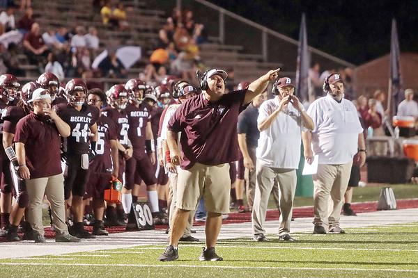 Woodrow Wilson coach Street Sarrett reacts during the game against Riverside High School Friday at Woodrow Wilson High School. Jenny Harnish/The Register-Herald
