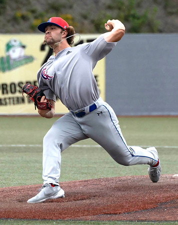 On the mound for Champion City Kings Garrett Peters against the WV Miners<br /> Tina Laney/for The Register-Herald