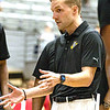 Head Coach  James Long  of Best Virginia taking a time out with his team.<br /> Tina Laney/For The Register-Herald