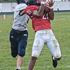 F. Brian Ferguson/Register-Herald Oak Hill's Ethan Vargo Thomas intercepts the ball as Nicholas County's Alex Pritt defends during Friday action in Oak Hill.
