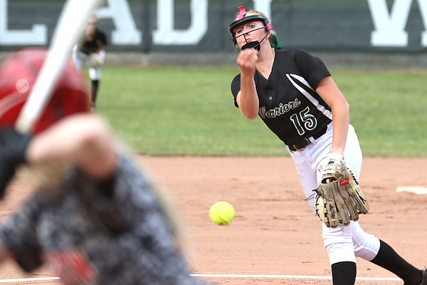 Wyoming East pitcher Olivia Hylton lead the Lady Warriors to a 12 to 1 victory over Pikeview.