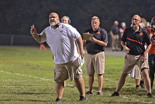 Summers County's head coach Josh Evans reacts during Thursday's football game of Summer's County vs Pikeview at Summer's County High School in Hinton. Jenny Harnish/The Register-Herald