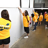 """200 WVU Tech students particiapted in the Golden Bears """"Give Back Day of Service"""" working on various projects at the Beckley-Raleigh County Convention Center Tuesday morning from 9 am to noon.<br /> (Rick Barbero/The Register-Herald)"""