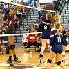 (8)Kyra Davis for Independence High School  at the net against ZaMahya Moss for Woodrow Wilson High School.<br /> Tina Laney/for The Register-Herald