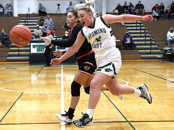 Hannah Blankenship of Wyoming East steals the ball from Claire Dingess of Chapmanville.<br /> Jim Cook/for the Register-Herald