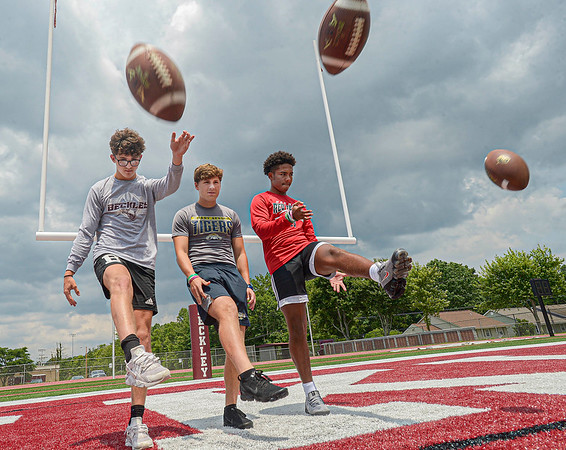 F. Brian Ferguson/Register-Herald  Three of the top kickers-punters from the area Woodrow Wilson's Connor Mollohan, left, Shady Spring's Will Harmon and Oak Hill's Ethan Vargo-Thomas.