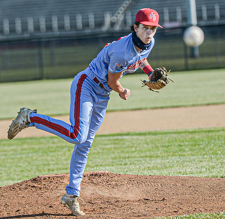 F. Brian Ferguson/Register-Herald  Independence pitcher Michael McKinney delievers against Oak Hill during Wednesday evening action in Oak Hill.