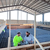 James Roberts, left, and Willie Johnson of National Pools of Roanoke install rebar in the competition pool at the new Greenbrier Valley Aquatic Center in Fairlea Monday. The concrete will be poured later this week. The Greenbrier Valley Aquatic Center will feature a competition pool, a recreation and a therapy pool as well as an exercise room and a concession area and and is scheduled to open Fall 2021.  Jenny Harnish for the Register-Herald