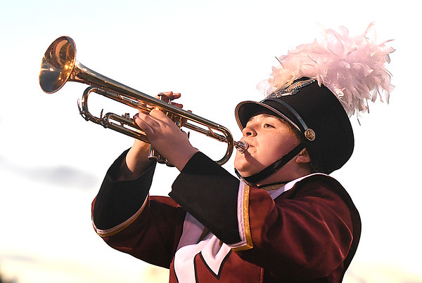Woodrow Wilson band member during game against Princeton Friday night at VanMeter Stadium in Beckley.<br /> (Rick Barbero/The Register-Herald)