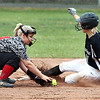 Wyoming East's Kayley Bane beats the throw to second for double.