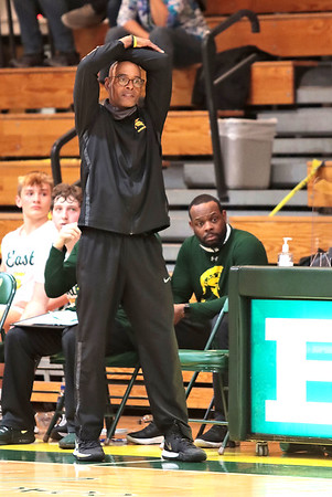 Boys basketball head coach Bimbo Coles reacts during Saturday's Class AAAA Region 3, Section 2 game against Woodrow Wilson at Greenbrier East in Fairlea.  Jenny Harnish for the Register-Herald