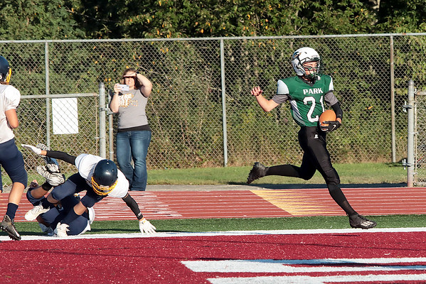 Park Middle School's Tyler Radford scores a touchdown during Thursday's game against Shady Spring Middle School at Woodrow Wilson High School in Beckley. Jenny Harnish/The Register-Herald