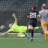 (Brad Davis/For The Register-Herald) WVU Tech goalkeeper Jenna Miller dives but can't stop shot from Rio Grande's Kotomi Kaneshima (#29)  for the Red Storm's 2nd goal of the game Saturday afternoon at the YMCA Paul Cline Memorial Sports Complex.
