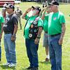 Alderson VfW, Vietnam Veterans of America Appalachian Maverics, and Greenbrier East JROTC raising the Flag at Aldersons 4th of July celebration.<br /> Tina Laney/for The Register-Herald