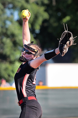 St. Albans' Tayven Stephenson pitches during the Class AAA Region 3 championship game against Greenbrier East in Fairlea Wednesday. Jenny Harnish for the Register-Herald