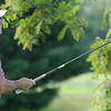 F. BRIAN FERGUSON/THE REGISTER-HERALD=Mike Mays tees off on #1 during Saturday's opening round of the BNI at Grandview.