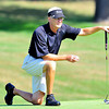 Ed McCall looks over the green during the BNI Memorial Tournament on Sunday at Pipestem. Chris Tilley/The Register-Herald