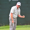 Ted Potter, Jr just after sinking his putt to win The Greenbrier Classic on Sunday.Chris Tilley/The Register-Herald