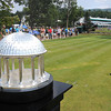 Trophy resting on the 18th tee box during the final found of The Greenbrier Classic.<br /> Rick Barbero/The Register-Herald