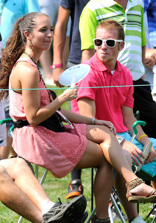Spectators on the 11th hole during the final round of The Greenbrier Classic.<br /> Rick Barbero/The Register-Herald