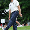Jim Furyk reacts after just missing his putt on the 8th hole during the first round of The Greenbrier Classic held on The Old White TCP course in White Sulphur Springs.<br /> Rick Barbero/The Register-Herald
