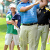 Scott Stallings hits his second shot on the second hole during the first round of The Greenbrier Classic held on The Old White TCP course in White Sulphur Springs.<br /> Rick Barbero/The Register-Herald
