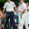Tom Watson, right, watching his tee shot and looking on is Jim Furyk, on the 9th hole during the first round of The Greenbrier Classic held on The Old White TCP course in White Sulphur Springs.<br /> Rick Barbero/The Register-Herald