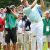 Stuart Appleby hits his second shot on the 7th hole during the first round of The Greenbrier Classic held on The Old White TCP course in White Sulphur Springs.<br /> Rick Barbero/The Register-Herald