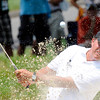 Phil Mickelson hits out of the trap on the third hole during the first round of The Greenbrier Classic held on The Old White TCP course in White Sulphur Springs.<br /> Rick Barbero/The Register-Herald