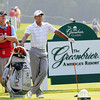 Tiger Woods waiting to tee off during The Greenbrier Classic Pro-Am held on The Old White TPC course.<br /> Rick Barbero/The Register-Herald