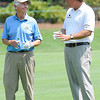 Phil Mickelson, right, talks with Kentucky Governor Steven Beshear, during The Greenbrier Classic Pro-Am held on The Old White TPC course.<br /> Rick Barbero/The Register-Herald
