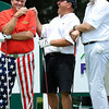 John Daly, left, Tony Mamone and Elmer Coppoolse share a few laughs on the 12th tee box during The Greenbrier Classic Pro-Am held on the Old White TPC course.<br /> Rick Barbero/The Register-Herald