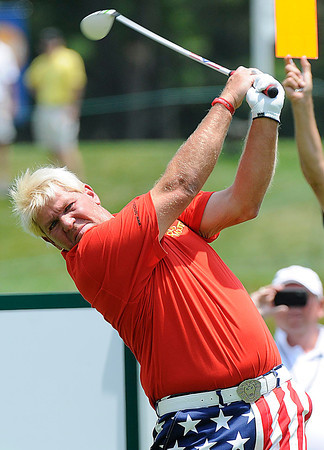 John Daly hits his tee shot on the 11th hole during The Greenbrier Classic Pro-Am held on The Old White TPC course.<br /> Rick Barbero/The Register-Herald