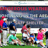 Storm warnings flash on the information board on the 9th hole during the second round of The Greenbrier Classic. Chris Tilley/The Register-Herald