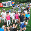 Crowd on 9th hole during the second round of The Greenbrier Classic Friday afternoon.<br /> Rick Barbero/The Register-Herald