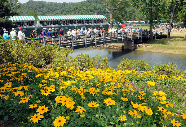 Spectators heading out on The Old White TCP course for the second round of The Greenbrier Classic.<br /> Rick Barbero/The Register-Herald