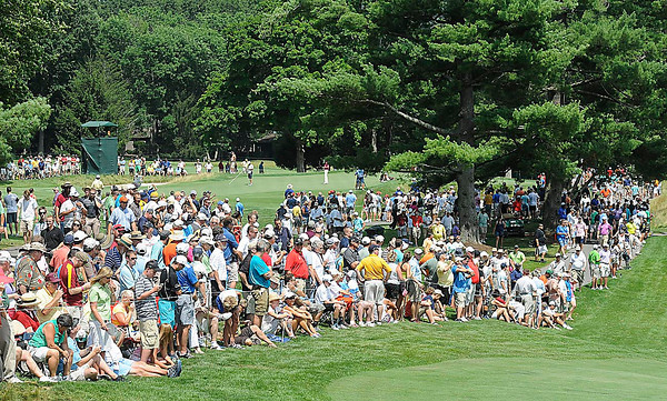 Crowd on 7th hole during  the second round of The Greenbrier Classic.<br /> Rick Barbero/The Register-Herald