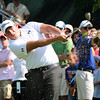 Scott Stallings hits his tee shot on the 18th hole during  the second round of The Greenbrier Classic.<br /> Rick Barbero/The Register-Herald