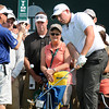 Scott Stallings chips on the 17th green during  the second round of The Greenbrier Classic.<br /> Rick Barbero/The Register-Herald