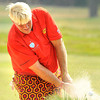 John Daly hits out of the trap on the 17th hole during the third round of The Greenbrier Classic. Daly is tied for 14th at 5 under par.<br /> Rick Barbero/The Register-Herald