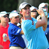 Webb Simpson tees off on the 18th hole during Saturdays Third-Round of play during The Greenbrier Classic. Chris Tilley/The Register-Herald