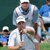 Troy Kelly linning up his putt with his caddy on the 17th hole during the third round of The Greenbrier Classic. Kelly is in second at 12 under par.<br /> Rick Barbero/The Register-Herald